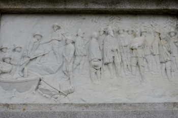 Bas-relief of Pilgrims Arriving at Plymouth