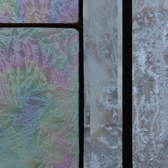 Side by side examples of frost - real on exterior glass (left) and artistic.