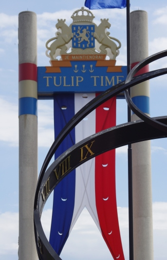 Tulip Toren - The Netherlands flag colors flutter above two soaring 65-foot pylons