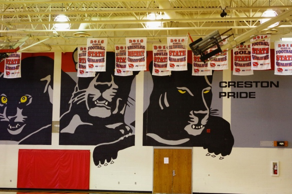 Panther mural in the Creston High School gymnasium